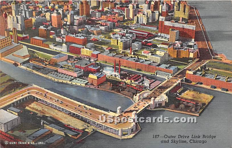 Outer Drive Link Bridge - Chicago, Illinois IL Postcard
