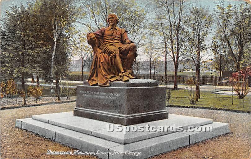 Shakespeare Monument, Lincoln Park - Chicago, Illinois IL Postcard