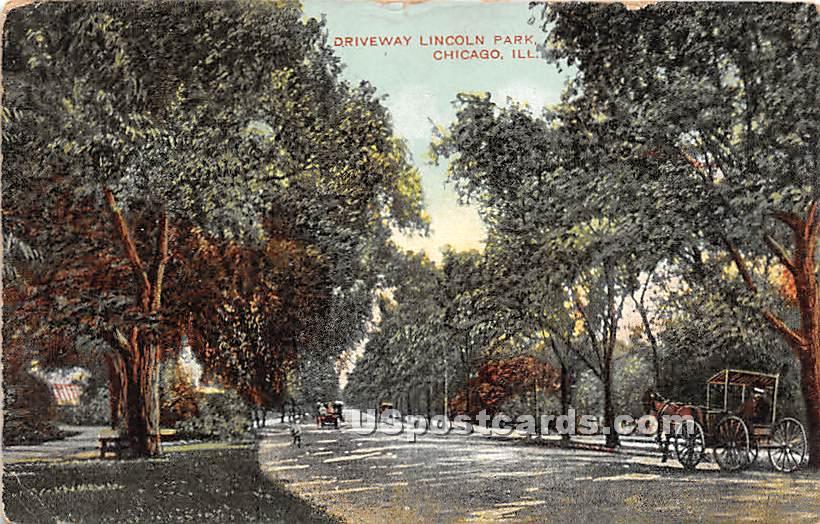 Driveway, Lincoln Park - Chicago, Illinois IL Postcard