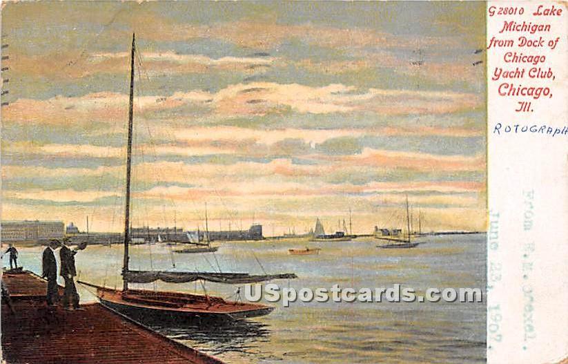Lake Michigan, Dock, Chicago Yacht Club - Illinois IL Postcard