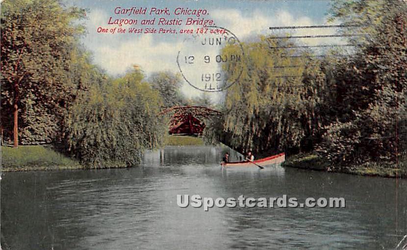 Garfield Park, Lagoon & Rustic Bridge - Chicago, Illinois IL Postcard