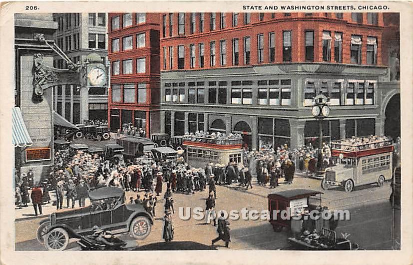 State & Washington Street - Chicago, Illinois IL Postcard
