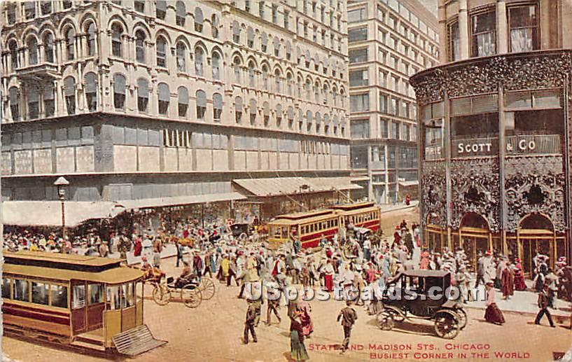 Busiest Corner in the World - Chicago, Illinois IL Postcard