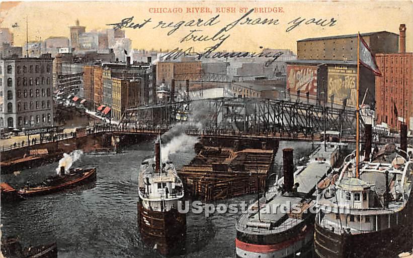 Chicago River, Rush Street Bridge - Illinois IL Postcard