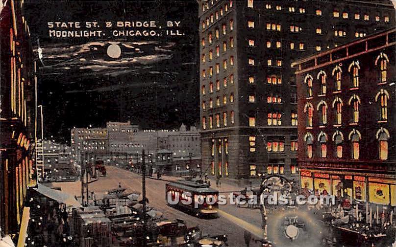 State Street & Bridge - Chicago, Illinois IL Postcard