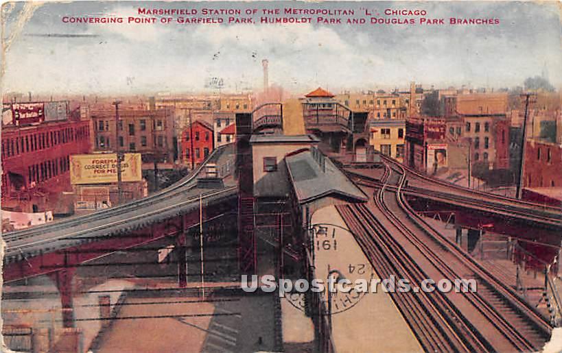 Marshfield Station - Chicago, Illinois IL Postcard