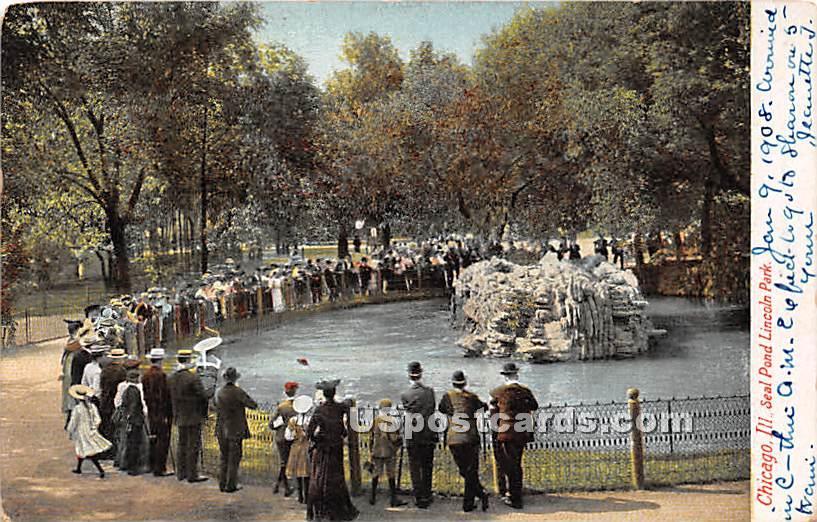 Seal Pond, Lincoln Park - Chicago, Illinois IL Postcard