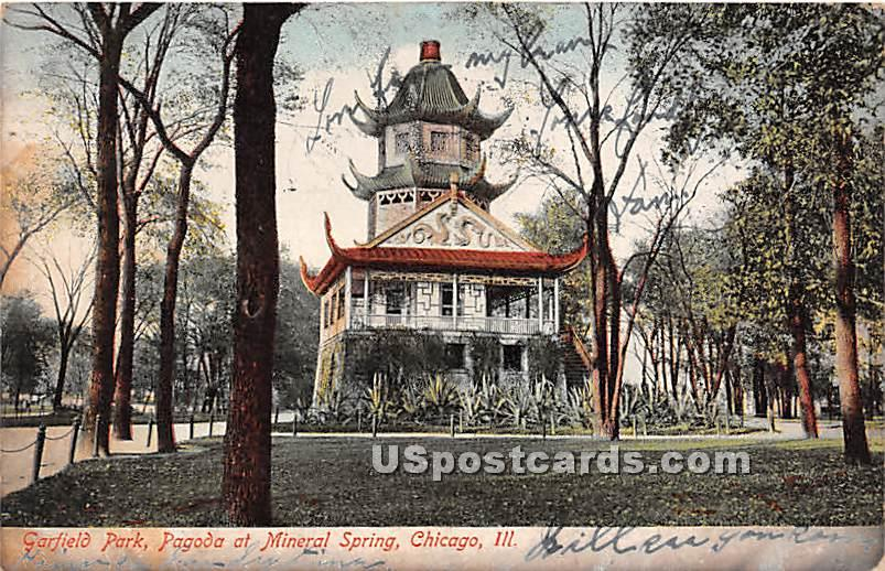 Pagoda at Mineral Spring - Chicago, Illinois IL Postcard