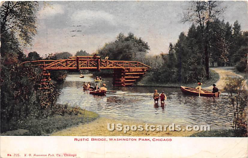 Rustic Bridge, Washington Park - Chicago, Illinois IL Postcard
