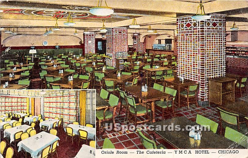 Oriole Room, Cafeteria, YMCA Hotel - Chicago, Illinois IL Postcard