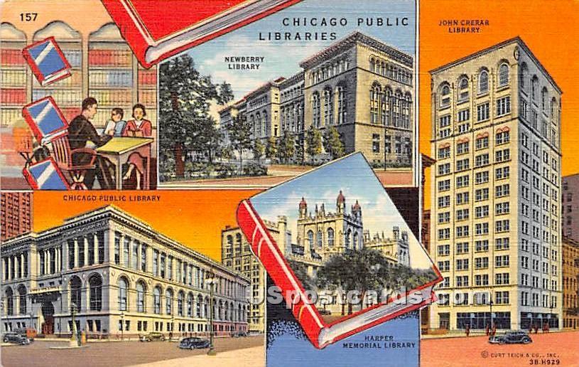 Chicago Public Libraries, - Illinois IL Postcard