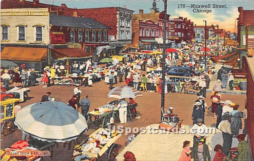 Maxwell Street - Chicago, Illinois IL Postcard