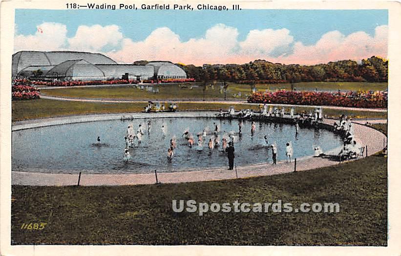Wading Pool, Garfield Park - Chicago, Illinois IL Postcard