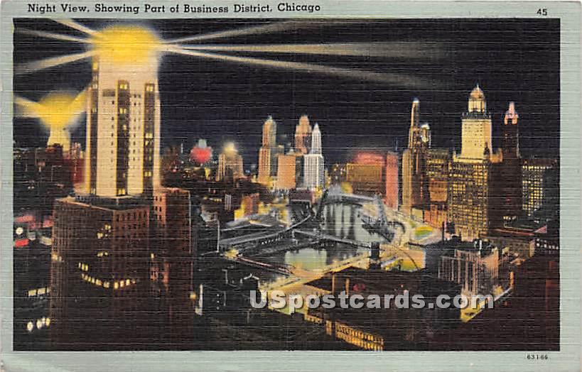 Business District - Chicago, Illinois IL Postcard