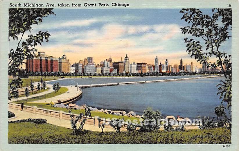 South Michigan Avenue, Grant Park - Chicago, Illinois IL Postcard