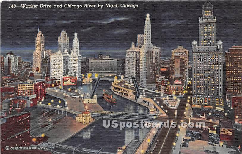 Wacker Drive, Chicago River - Illinois IL Postcard