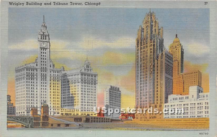 Wrigley Building, Tribune Tower - Chicago, Illinois IL Postcard