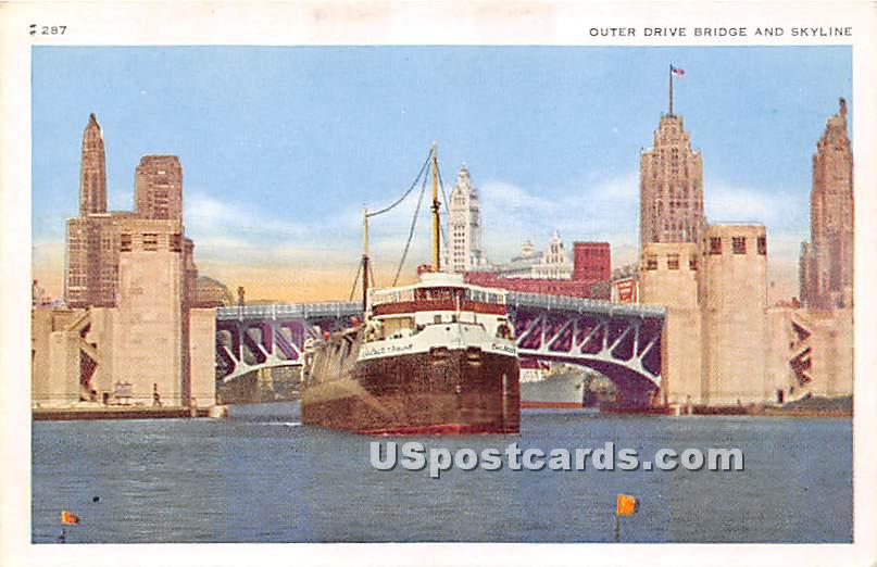 Outer Drive Bridge - Chicago, Illinois IL Postcard