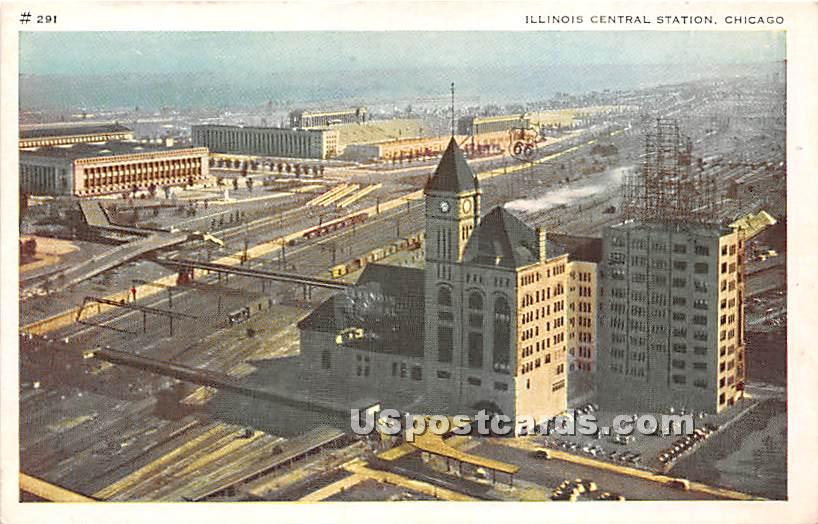 Illinois Central Station - Chicago Postcard