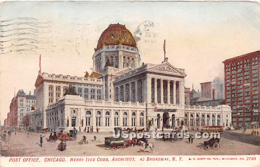 Post Office - Chicago, Illinois IL Postcard