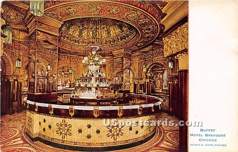 Buffet, Hotel Brevoort - Chicago, Illinois IL Postcard