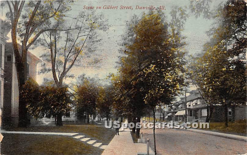 Gilbert Street - Danville, Illinois IL Postcard