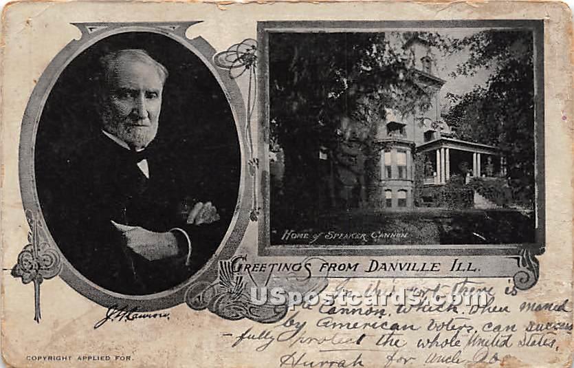 Home of Speaker Cannon - Danville, Illinois IL Postcard