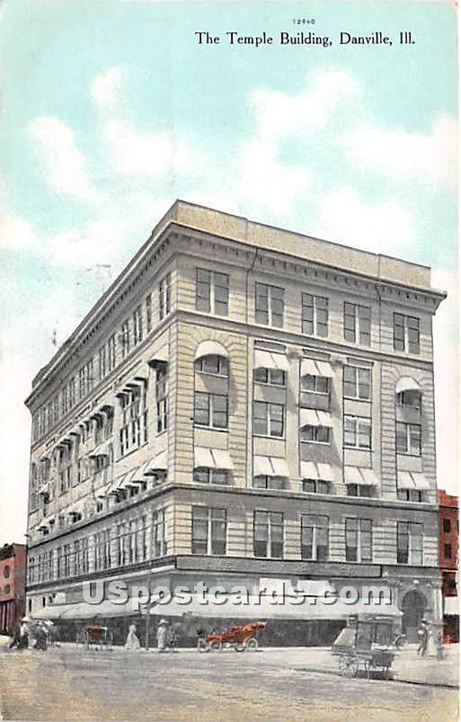 Temple Building - Danville, Illinois IL Postcard