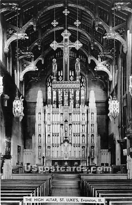 High Altar St Lukes - Evanston, Illinois IL Postcard