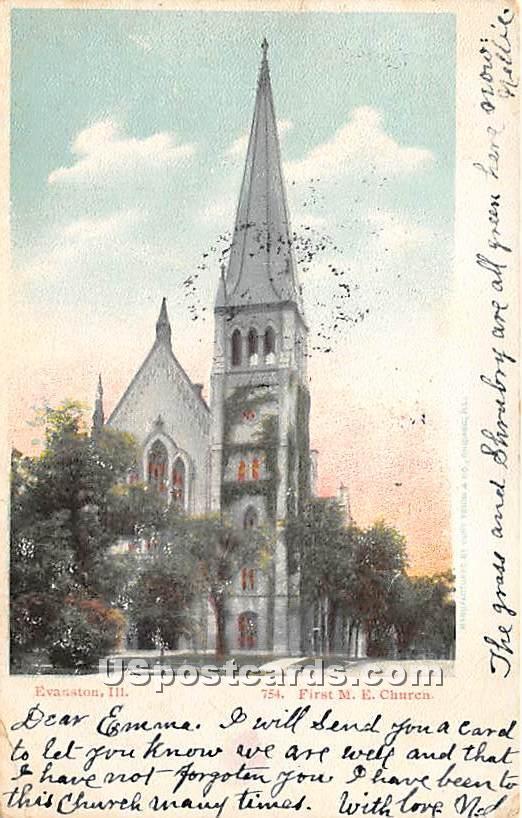 First ME Church - Evanston, Illinois IL Postcard