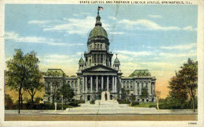 Abraham Lincoln Statue - Springfield, Illinois IL Postcard