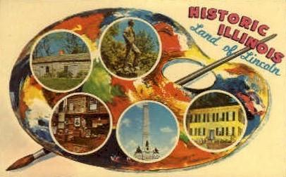 The land of Licoln - Springfield, Illinois IL Postcard