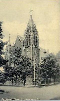 Catholic Church - Aurora, Illinois IL Postcard