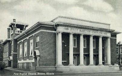 1st Baptist Church - Benton, Illinois IL Postcard