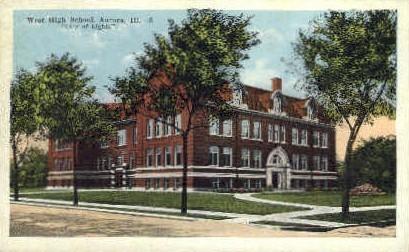 West High School - Aurora, Illinois IL Postcard