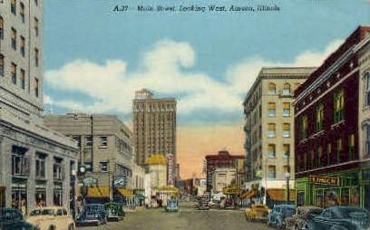 Main St. West  - Aurora, Illinois IL Postcard