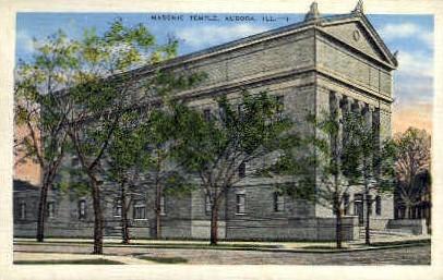 Masonic Temple - Aurora, Illinois IL Postcard