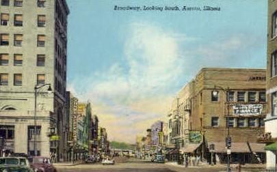 Broadway South - Aurora, Illinois IL Postcard