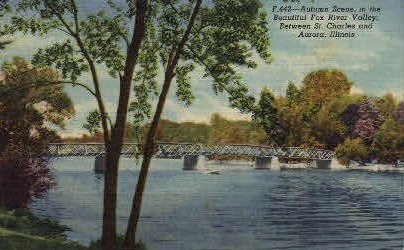 Fox River Valley - Aurora, Illinois IL Postcard
