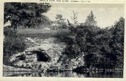 Devils Cave, Fox River - Aurora, Illinois IL Postcard