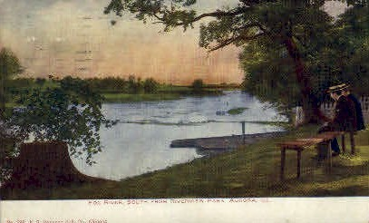 Fox River, Riverview Park - Aurora, Illinois IL Postcard