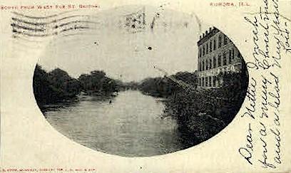 West Fox St. Bridge - Aurora, Illinois IL Postcard