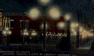 South Broadway at Night - Aurora, Illinois IL Postcard