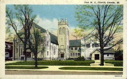 1st M.E. Church - Lincoln, Illinois IL Postcard