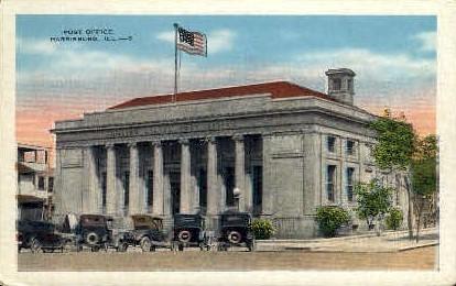Post Office - Harrisburg, Illinois IL Postcard