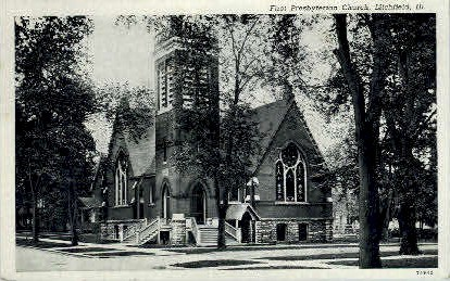 1st Presbyterian Church - Litchfield, Illinois IL Postcard