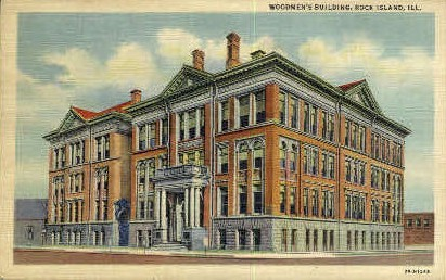Woodmens Bldg. - Rock Island, Illinois IL Postcard