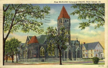 1st Methodist Episcopal Church - Rock Island, Illinois IL Postcard