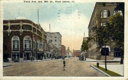 3rd Ave. & 19th St. - Rock Island, Illinois IL Postcard