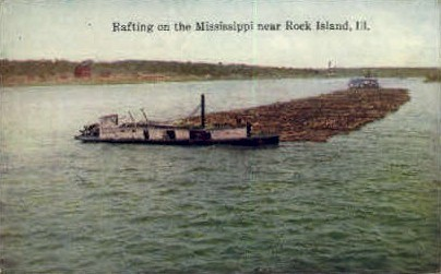 Rafting - Rock Island, Illinois IL Postcard